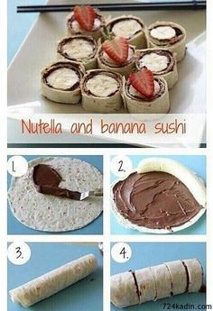 it: messy and better for at home lunch Nutella and banana sushi. maybe an alternative to nutella? i just don't like nutellaMade it: messy and better for at home lunch Nutella and banana sushi. maybe an alternative to nutella? i just don't like nutella Sushi Dessert, Aperitivos Finger Food, Delicious Desserts, Yummy Food, Gourmet Desserts, Party Desserts, Health Desserts, Snack Recipes, Dessert Recipes