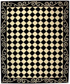 @Overstock - The Diamond black ivory rug offers the true definition of transitional design Area rug features a stunning black and ivory diamond checker pattern Rug background has a black scrolled border made from pure virgin wool pilehttp://www.overstock.com/Home-Garden/Hand-hooked-Diamond-Black-Ivory-Wool-Rug-79-x-99/2908165/product.html?CID=214117 $338.05