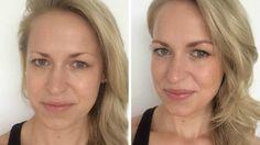 Zum Vergleich: Unsere Autorin im ungeschminkten Zustand (links) und nach ihrer 16-Schritte-Prozedur vorm Kosmetikspiegel