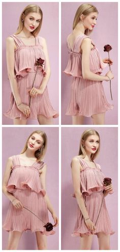 New Trend for Bridesmaid Dress 2017 Spring/Summer Wedding. Pink Pleated Short Chiffon Dresses