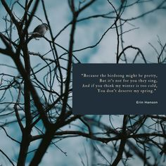 """winter quotes // quotes about snow // lifestyle blogger // """"Because the birdsong might be pretty, But it's not for you they sing, And if you think my winter is too cold, You don't deserve my spring."""" ― Erin Hanson"""