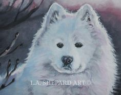 """A Samoyed art portrait print of an LA Shepard painting 11x14"""". Here's a wonderful tribute to your best friend and favorite breed- the Samoyed! from an original painting by L.A.Shepard, whose unique, beautiful work has been collected around the world. Your print will be individually signed under the image by the artist, and initialed on the image. Copyright text is for display purposes only and will not appear on your artwork. The image is 11x14 inches and is printed on 13x19"""" 100% cotton…"""