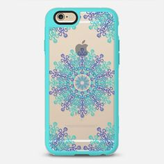 Flake 6 - New Standard Case.  Choose your own bumper colour.  Design available for all iphone models.  $10 off your first order @Casetify using code: ZN4AQG  #casetify #case #iphonecase #phonecover #discount #offer #discountcode #blue #turquoise #clearcase #transparent #snowflake #mandala