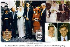 Prince Nikolaus zu Waldeck Pyrmont wed Princess Katharina zu Hohenlohe-Langenburg, on 28 September 2002, the bride wore a more delicate tiara with circa five diamond bow motifs