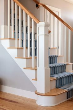striped stair runner | REEF Cape Cod's Home Builder