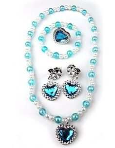 IMC Inspired Elsa Snow Princess Girls Heart Necklace Earrings Ring Jewelry Set