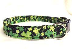 Dog collar-St Patrick's day collar- four leaf clover collar - green collar - black dog collar - handmade dog collar - fabric dog collar #Etsy #Share #EtsyShop Shared by #BaliTribalJewelry http://etsy.me/1sDZ302