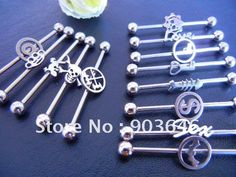 3 piece industrial piercing | lote 316l 50 pcs shippment libre 14g industrial del oído barbells ...