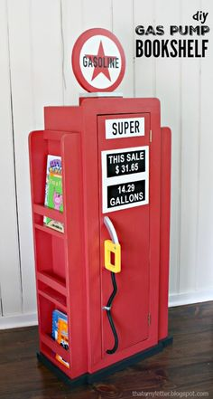 HOW TO: Build a Vintage Gas Pump Cabinet with Side Bookshelves For the cutest boy car room ever! DIY plans for a vintage wood gas pump bookshelf! - wood vintage gas pump cabinet with bookshelves!