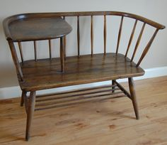 Ercol telephone table - for at bottom of bed, instead of ottoman/bench. - reminds a little of the one my grandmother has Vintage Telephone Table, Table Seating, Ottoman Bench, Bay Window, Vintage Furniture, Dining Chairs, Entryway, Bedroom Decor, Design Inspiration