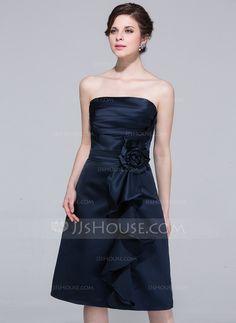 Sheath Strapless Knee-Length Satin Bridesmaid Dress With Ruffle Flower(s) (007037223)