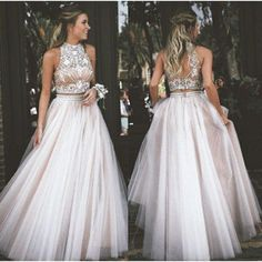 Champagne Two Piece Prom Dresses,Beading Tulle A-Line Prom