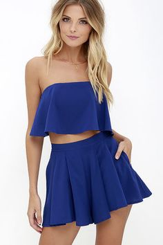 """Admirers of on-trend fashion can't help but be a little envious of you in the Squad Goals Royal Blue Strapless Two-Piece Set! A woven strapless top with no-slip strips (and exposed silver back zipper) flutters atop matching pleated shorts. Hidden side zipper with clasp. Small top measures 7.5"""" long. Small bottom measures 13"""" long."""