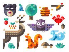 Illustration d'animaux et éléments de nature par des formes très géométriques (Magic forest) #graphicdesign #nature #ip