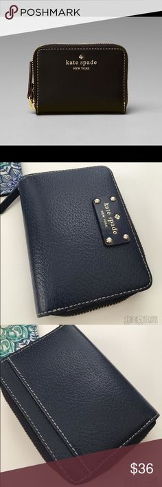 AUTHENTIC Kate spade mercer street mini wallet Gently used in great condition. Color looks more like the first pic. Looks darks only because of light in last three. NAVY kate spade Bags Wallets