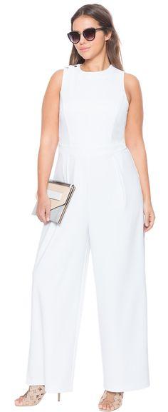 1a99bd74ea7b Plus Size Lace Up Back Jumpsuit Palazzo Blanco