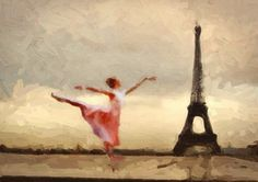 Print Paris ballerina  eiffel art Birthday Gift poster Vintage  artwork   Mixed Media  art   on canvas - ivory and sepia giclee on Etsy, $35.00