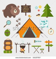 Vector icons forest camping set with a pine or fir tree  bear  map  tent with open flaps  rucksack or backpack  campfire  compass  water bottle  magnifying glass  paw prints  signpost  torch  table - stock vector