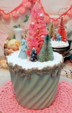 Vintage Angel, Pastel Pink Green & Glass Beaded Bottle Brush Xmas Tree Display