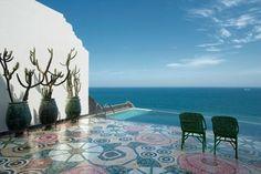 patio: pool: sea: sky