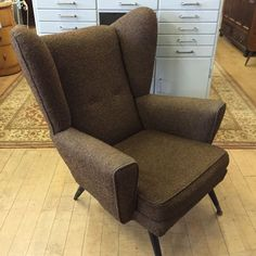 Wingback Chair, Tweed, Mid-century Modern, Vintage Armchair, Accent Chairs, Mid Century, Retro, Brown, House