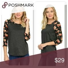 🎉SALE 🎉Charcoal gray flowery shirt baseball T🐔 In Love with this shirt!! Really pretty quarter sleeve baseball T charcoal gray/ black flowery shirt!  These are pretty true to size If anything a tad big but not noticeable. This shirt looks so nice with both jeans and black pants. Tops