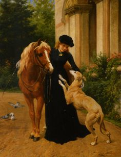 George Augustus Holmes - lovely portrait of a woman with her beloved horse and greyhound Painted Horses, Old Paintings, Animal Paintings, Horse Paintings, Pastel Paintings, Greyhound Art, Horses And Dogs, A4 Poster, Equine Art