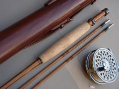 """Edward Barder 8'6"""" 2-PIECE 2-TOP #5 FLY ROD AND LEATHER CASE IN SUPERB 95%+ OF NEW CONDITION C2001"""