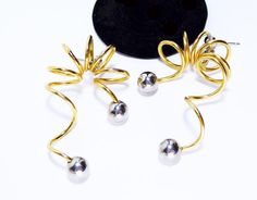 New Listings Daily - Follow Us for UpDates -  Description & Style:  Crazy Corkscrew Pierced Earrings - MOD POP Art 1960's 1970's Era - Dangling Curly Cues - Spiral Gold Tone Wire Silver Ball Beads - Abstract offered by... #vintage #jewelry #teamlove #etsyretwt #ecochic #thejewelseeker ➡️ http://etsy.me/2kPESid