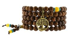 Meditation 8mm Wenge Wood 108 Prayer Beads Mala Yoga Charm Wrap Bracelet (Gold Tone Tree of Life). Wrap Around 108 Tibetan Prayer Beads Mala Made from Wenge Wood; Accent Beads and Dividing Beads Made from Yellow and Blue Beads. Great for Mantra Chanting, Meditation, Yoga Practices;. 108 Beads Mala, Size: About 8mm;. Length: 37 inches, Elastic String, Can Wrap up to 5 Times; Can be used as a necklace or a wrap bracelet. Handmade Meditation Wrap Bracelet or Worry Beads Necklace Embellished...