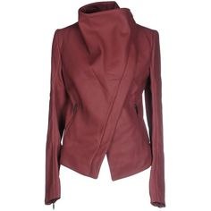 Gareth Pugh Jacket featuring polyvore, women's fashion, clothing, outerwear, jackets, maroon, genuine leather jackets, zipper leather jacket, leather biker jacket, single breasted jacket and red zip jacket