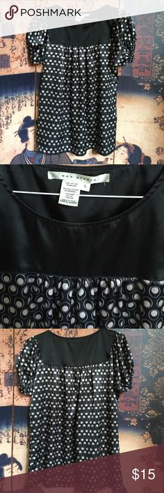 Max Studio baby doll blouse Max Studio black and taupe 97% polyester and 3% spandex blend blouse. Baby doll cut hangs to top of thighs. Dress up or down. Very soft!! Max Studio Tops Blouses