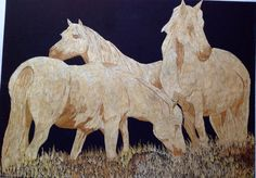 Wild Horses Handmade with rice straw Dried leaves of by museumshop