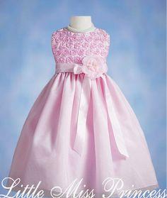 Pink Floral Rosette Bodice Girls Dress