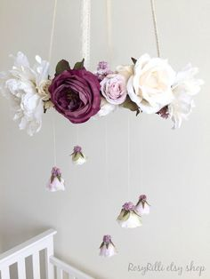 Royal purple nursery flower mobile, crib mobile, baby girl mobile, hanging wreath, floral chandelier for h Floral Chandelier, Diy Chandelier, Mobile Chandelier, Iron Chandeliers, Hanging Mobile, Nursery Room, Nursery Decor, Nursery Ideas, Nursery Inspiration