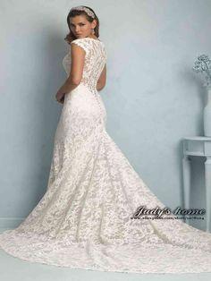 Sheer Lace Back Wedding Dress