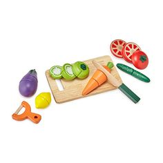 Cooking time can be a group activity with these set of vegetables and cutting board!