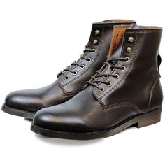 fea7e151838 Vegan Vegetarian Non-Leather Mens Strider Boots in Dark Brown ❤ liked on  Polyvore featuring