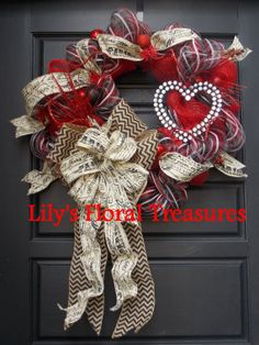 Valentines Red & Black Wreath by LilysFloralTreasures on Etsy, $75.00