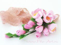 Кружевная лента с веткой розовой яблони. Полимерная глина. Екатерина Звержанская.