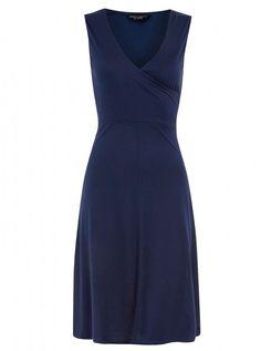 dressing for a top heavy body shape - Dorothy Perkins blue wrap dress, £16