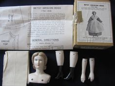 Porcelain Doll Kit with Head, Arms, Legs Betsy Ross