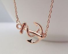 Rose Gold Ships Anchor Necklace, sideways anchor necklace----dainty and simple, wedding, bridesmaid gift