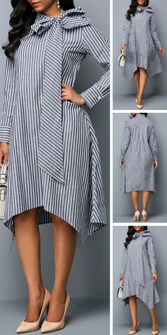 It's a unique find that's perfect for the office party,a night at the theater or any special occasion this holiday season.Do you like this stripe dress? African Attire, African Fashion Dresses, African Dress, African Print Fashion, Blazer Fashion, Fashion Outfits, Dress Fashion, Sexy Dresses, Casual Dresses
