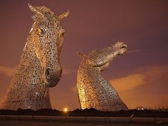 In Pictures Stunning Light Show And Fireworks Unveil Scotlands - Amazing horse head sculpture lights scottish skyline