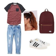 """""""Untitled #177"""" by stefaniacristiana on Polyvore featuring Hollister Co., adidas Originals, MANGO, Herschel Supply Co. and Missguided"""