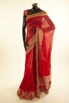 Banarsi- tussar blood red saree with blouse