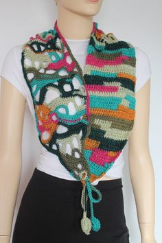 Chic Boho Hippie Colorful Freeform Crochet Scarf от lucylev