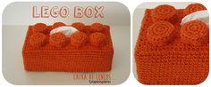 LEGO Box Orange Capa para caixa de lenços. Decoração infantil. Crochet