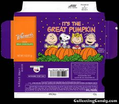 Whitman's - Peanuts It's The Great Pumpkin - The Gang - chocolate bar box - October 2014 Peanuts Halloween, Halloween Candy, Peanut Chocolate Bars, It's The Great Pumpkin, Paper Crafts, Diy Crafts, Baby Alive, Candy Boxes, Ideas